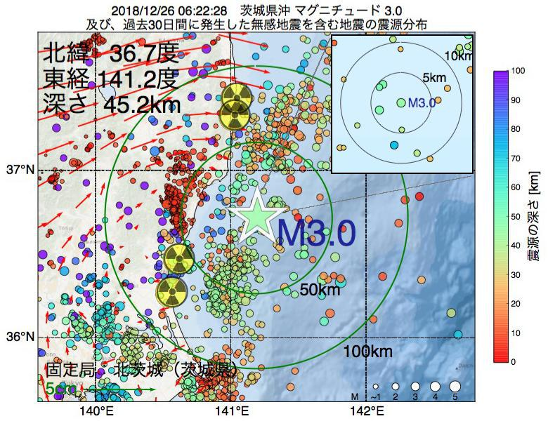 地震震源マップ:2018年12月26日 06時22分 茨城県沖でM3.0の地震