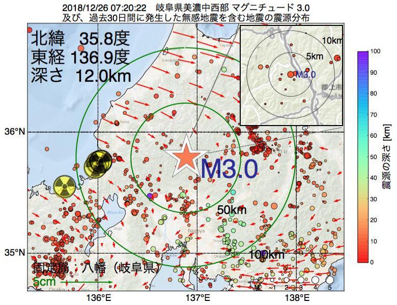 地震震源マップ:2018年12月26日 07時20分 岐阜県美濃中西部でM3.0の地震