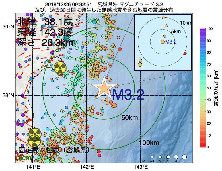 地震震源マップ:2018年12月26日 09時32分 宮城県沖でM3.2の地震