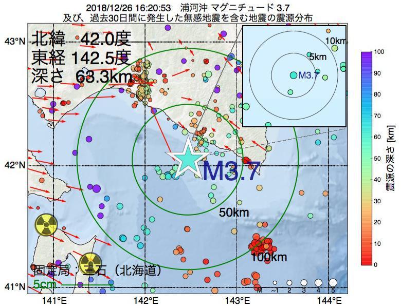 地震震源マップ:2018年12月26日 16時20分 浦河沖でM3.7の地震