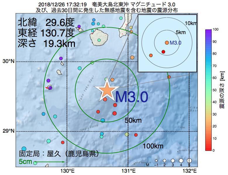 地震震源マップ:2018年12月26日 17時32分 奄美大島北東沖でM3.0の地震