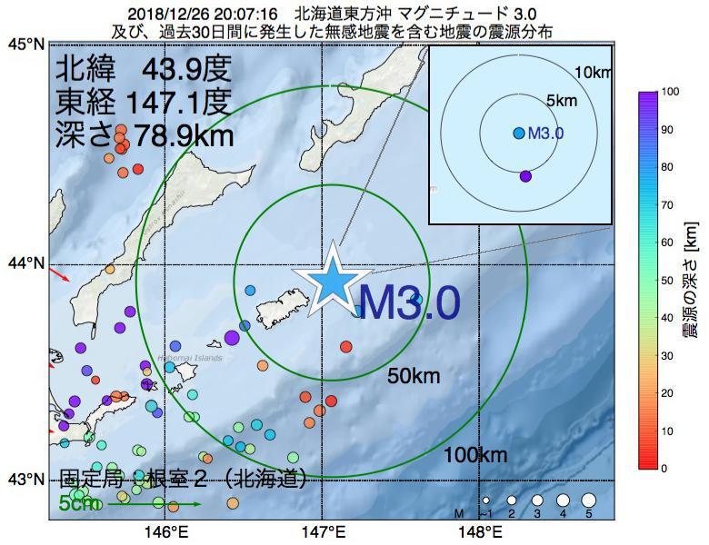 地震震源マップ:2018年12月26日 20時07分 北海道東方沖でM3.0の地震