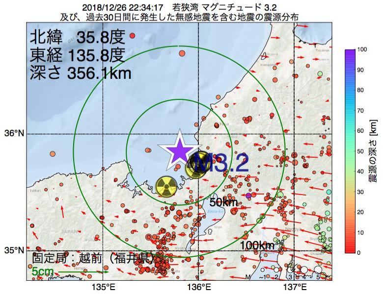地震震源マップ:2018年12月26日 22時34分 若狭湾でM3.2の地震