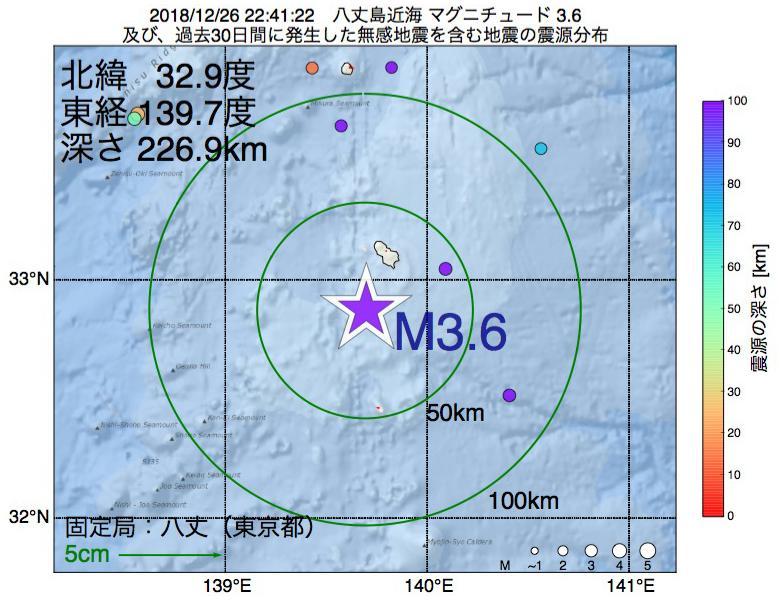 地震震源マップ:2018年12月26日 22時41分 八丈島近海でM3.6の地震