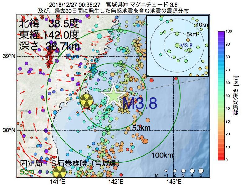 地震震源マップ:2018年12月27日 00時38分 宮城県沖でM3.8の地震