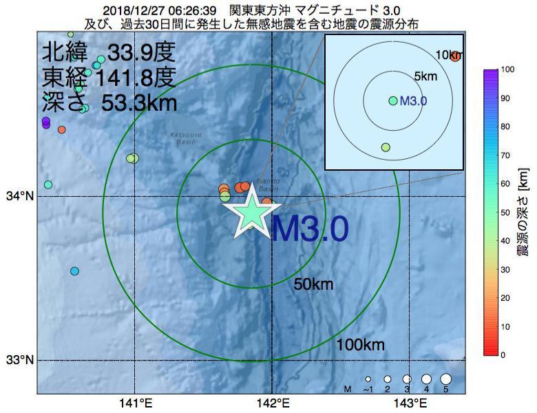 地震震源マップ:2018年12月27日 06時26分 関東東方沖でM3.0の地震
