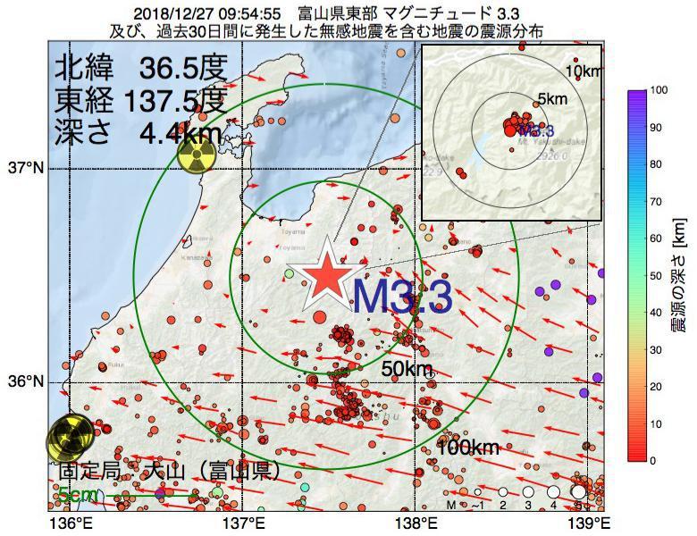 地震震源マップ:2018年12月27日 09時54分 富山県東部でM3.3の地震