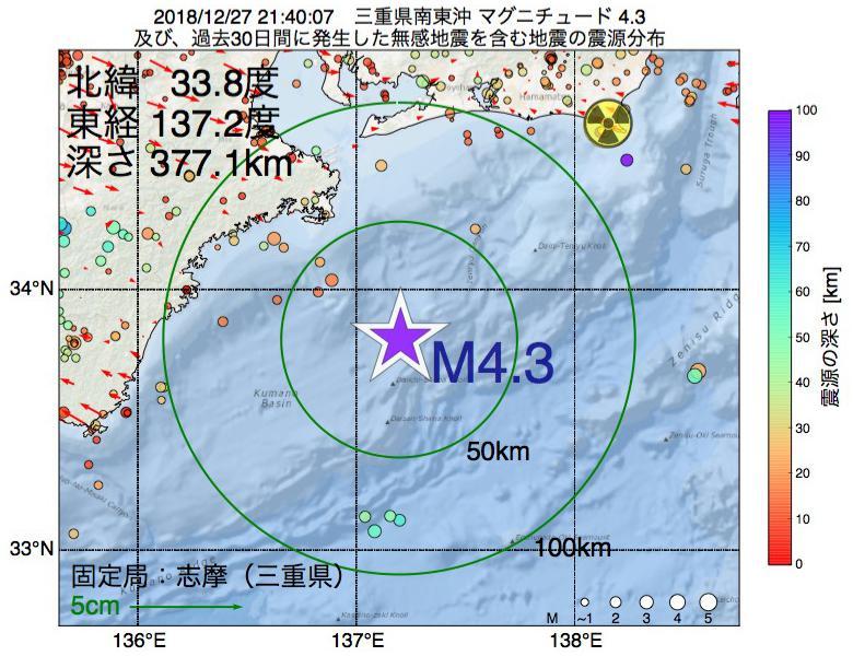 地震震源マップ:2018年12月27日 21時40分 三重県南東沖でM4.3の地震