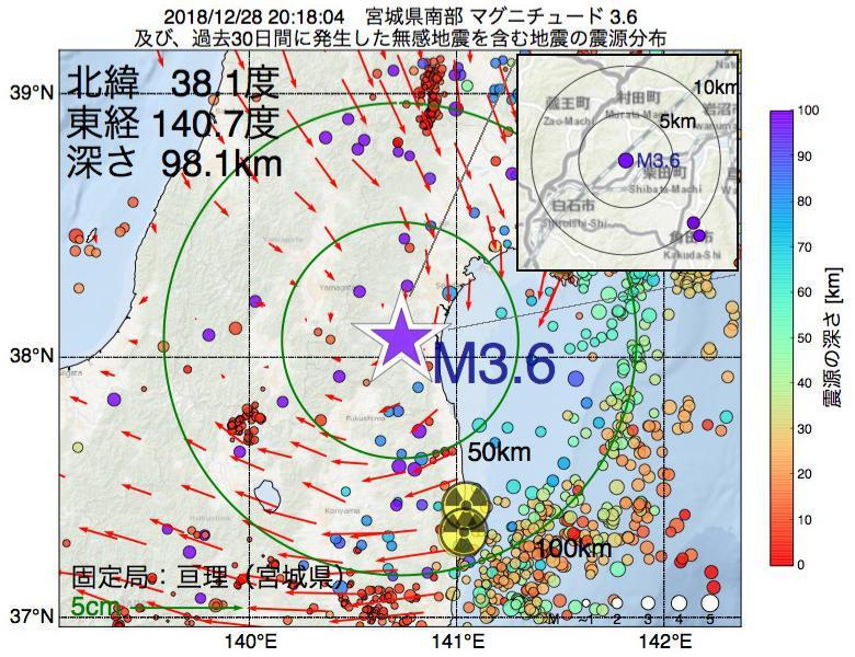 地震震源マップ:2018年12月28日 20時18分 宮城県南部でM3.6の地震