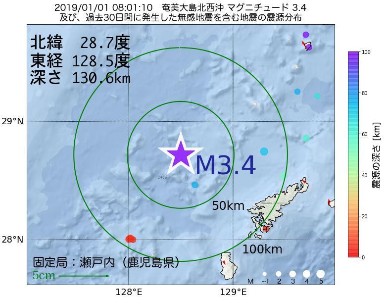 地震震源マップ:2019年01月01日 08時01分 奄美大島北西沖でM3.4の地震