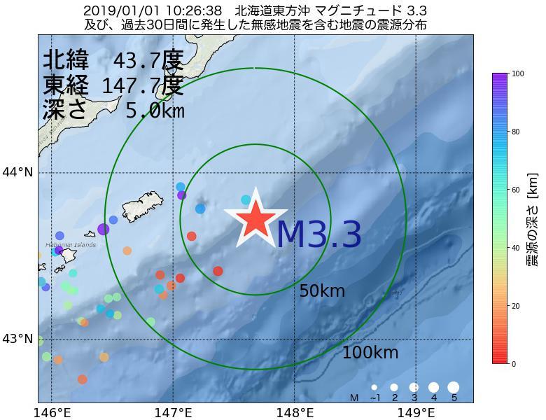 地震震源マップ:2019年01月01日 10時26分 北海道東方沖でM3.3の地震