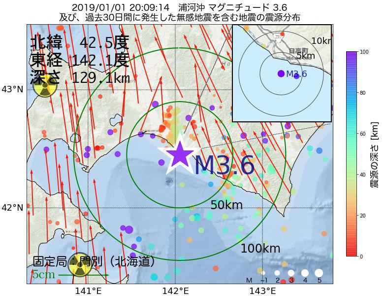 地震震源マップ:2019年01月01日 20時09分 浦河沖でM3.6の地震