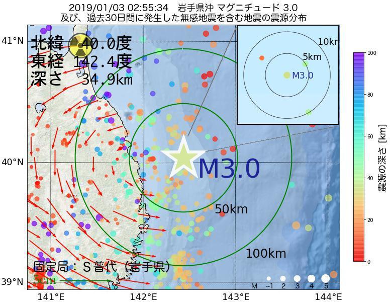 地震震源マップ:2019年01月03日 02時55分 岩手県沖でM3.0の地震