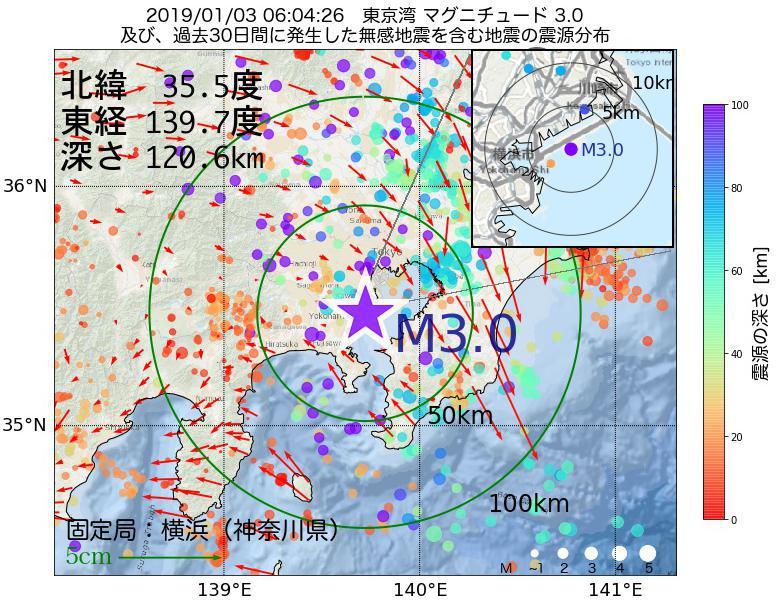 地震震源マップ:2019年01月03日 06時04分 東京湾でM3.0の地震