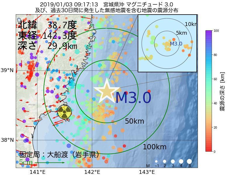 地震震源マップ:2019年01月03日 09時17分 宮城県沖でM3.0の地震