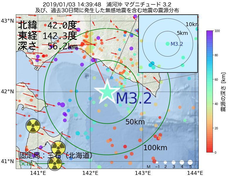 地震震源マップ:2019年01月03日 14時39分 浦河沖でM3.2の地震