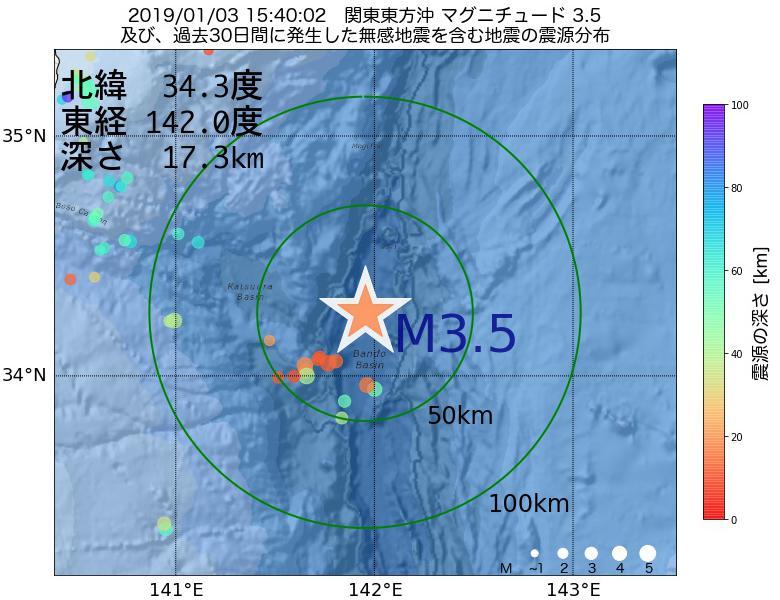 地震震源マップ:2019年01月03日 15時40分 関東東方沖でM3.5の地震