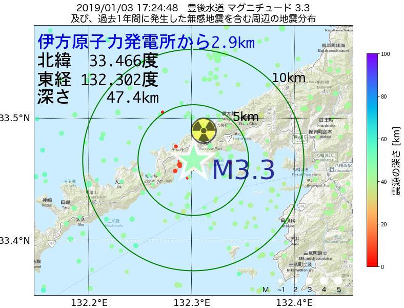 地震震源マップ:伊方原子力発電所から2.9km地点でM3.3の地震が発生しました