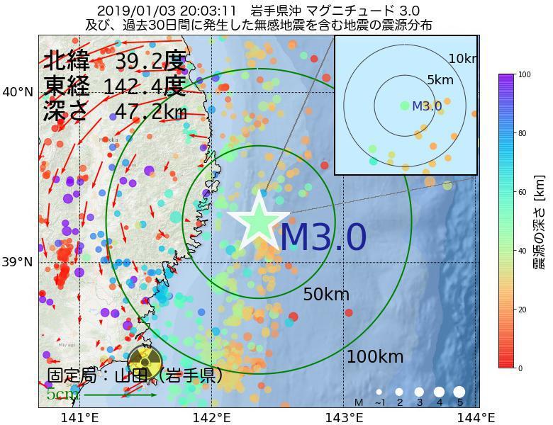 地震震源マップ:2019年01月03日 20時03分 岩手県沖でM3.0の地震