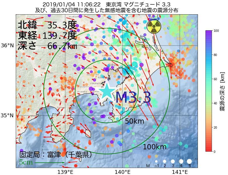 地震震源マップ:2019年01月04日 11時06分 東京湾でM3.3の地震