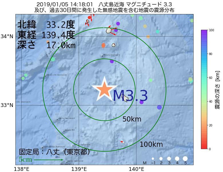 地震震源マップ:2019年01月05日 14時18分 八丈島近海でM3.3の地震