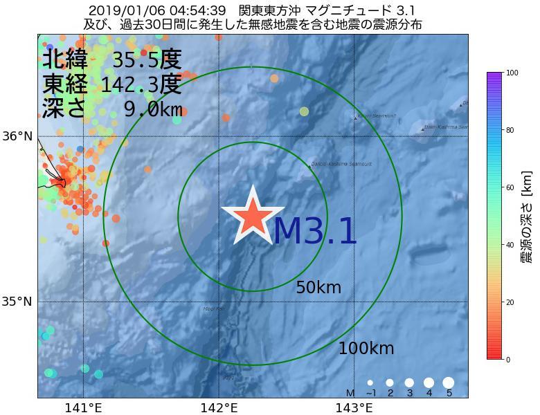 地震震源マップ:2019年01月06日 04時54分 関東東方沖でM3.1の地震