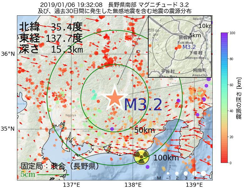 地震震源マップ:2019年01月06日 19時32分 長野県南部でM3.2の地震
