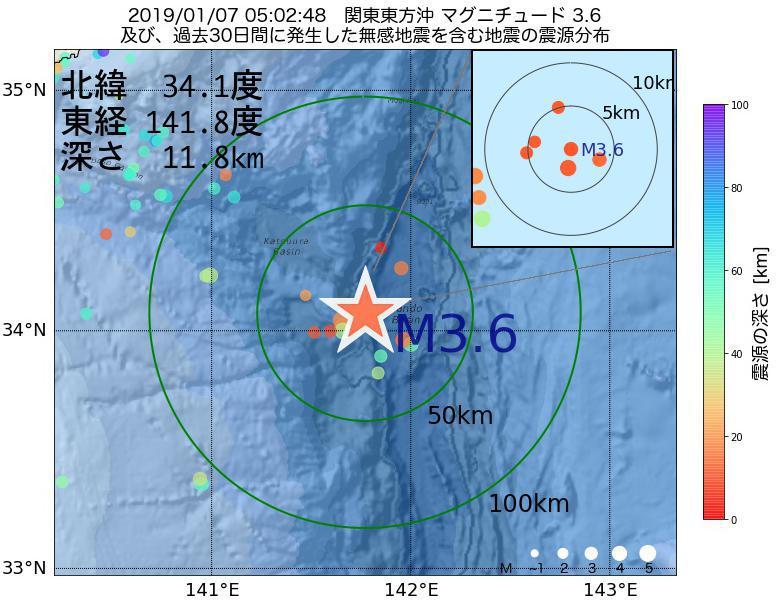 地震震源マップ:2019年01月07日 05時02分 関東東方沖でM3.6の地震