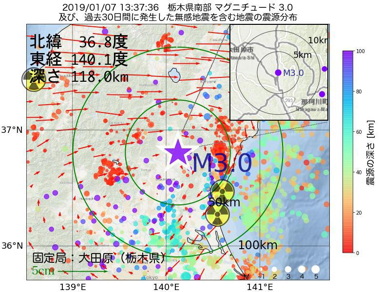 地震震源マップ:2019年01月07日 13時37分 栃木県南部でM3.0の地震