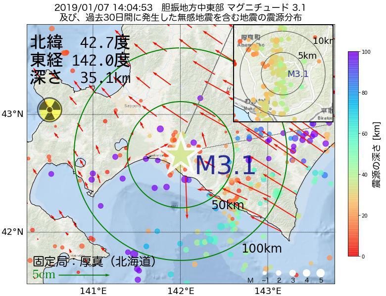 地震震源マップ:2019年01月07日 14時04分 胆振地方中東部でM3.1の地震
