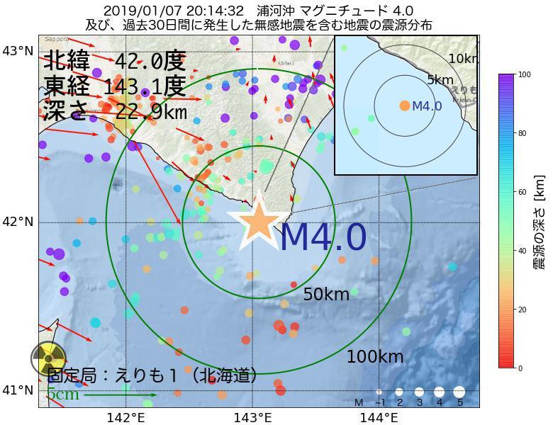 地震震源マップ:2019年01月07日 20時14分 浦河沖でM4.0の地震