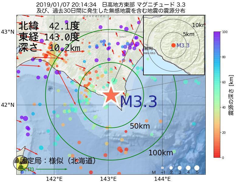地震震源マップ:2019年01月07日 20時14分 日高地方東部でM3.3の地震