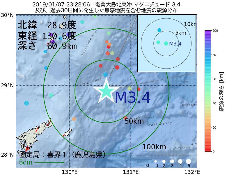 地震震源マップ:2019年01月07日 23時22分 奄美大島北東沖でM3.4の地震