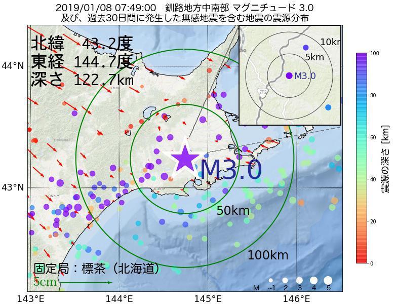 地震震源マップ:2019年01月08日 07時49分 釧路地方中南部でM3.0の地震