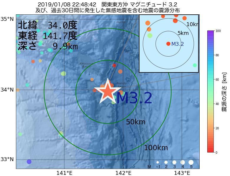 地震震源マップ:2019年01月08日 22時48分 関東東方沖でM3.2の地震