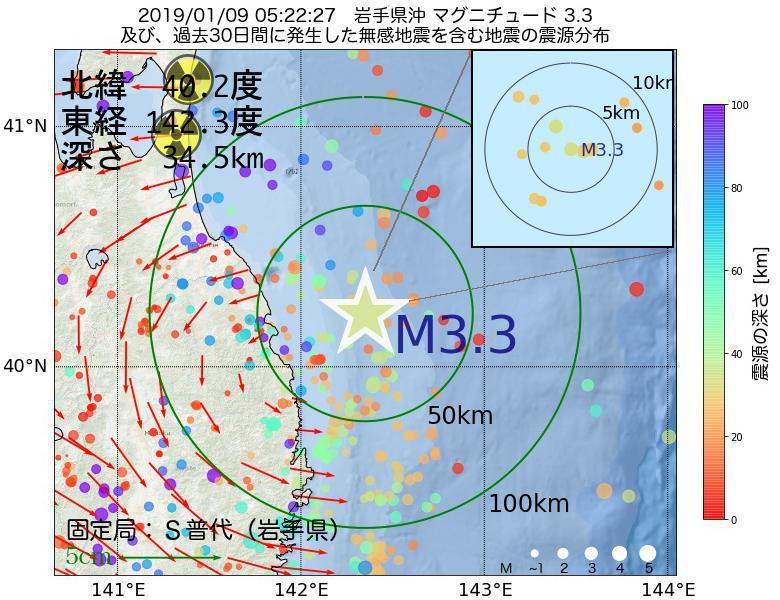 地震震源マップ:2019年01月09日 05時22分 岩手県沖でM3.3の地震