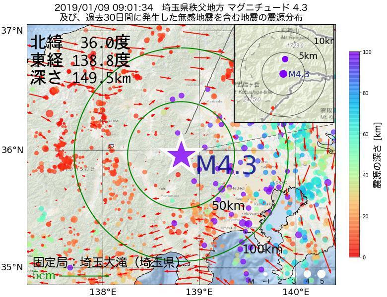 地震震源マップ:2019年01月09日 09時01分 埼玉県秩父地方でM4.3の地震