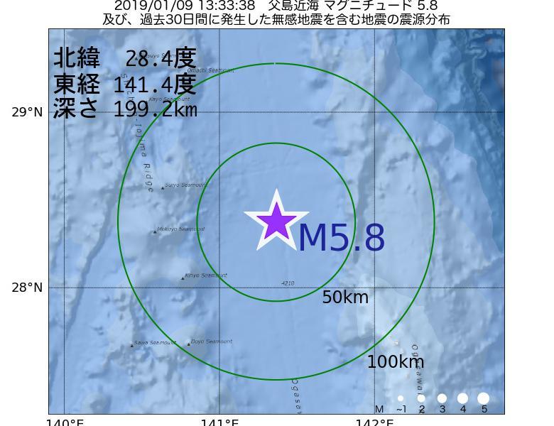 地震震源マップ:2019年01月09日 13時33分 父島近海でM5.8の地震