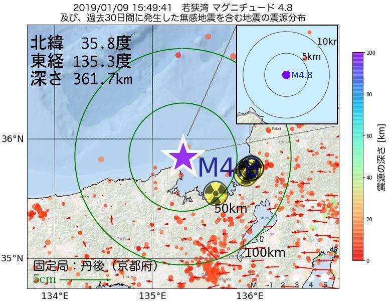 地震震源マップ:2019年01月09日 15時49分 若狭湾でM4.8の地震