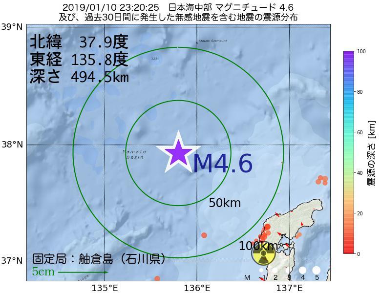 地震震源マップ:2019年01月10日 23時20分 日本海中部でM4.6の地震