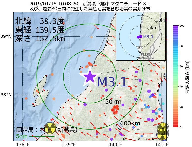 地震震源マップ:2019年01月15日 10時08分 新潟県下越沖でM3.1の地震