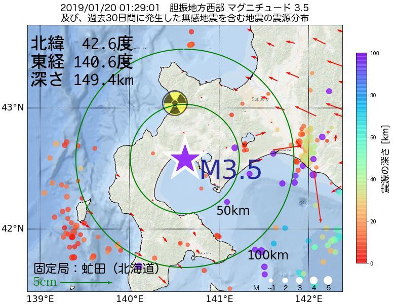 地震震源マップ:2019年01月20日 01時29分 胆振地方西部でM3.5の地震