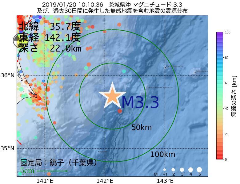 地震震源マップ:2019年01月20日 10時10分 茨城県沖でM3.3の地震