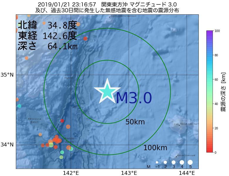 地震震源マップ:2019年01月21日 23時16分 関東東方沖でM3.0の地震