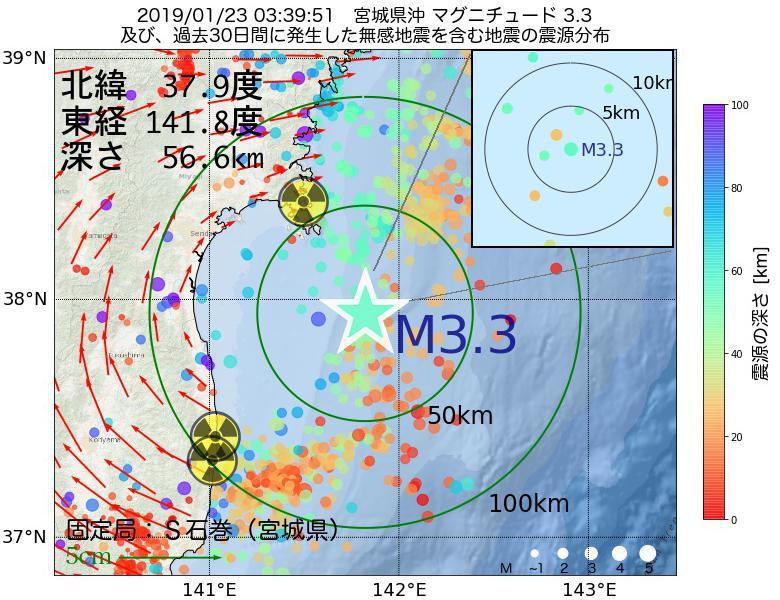 地震震源マップ:2019年01月23日 03時39分 宮城県沖でM3.3の地震