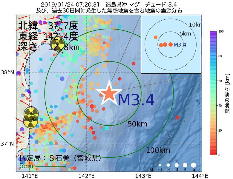 地震震源マップ:2019年01月24日 07時20分 福島県沖でM3.4の地震