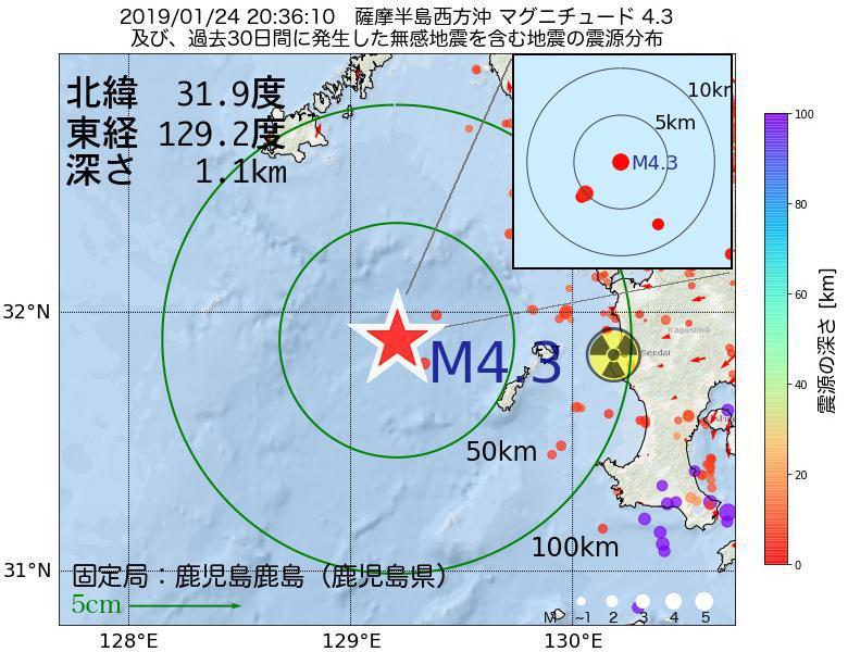 地震震源マップ:2019年01月24日 20時36分 薩摩半島西方沖でM4.3の地震