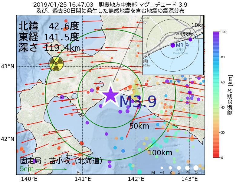 地震震源マップ:2019年01月25日 16時47分 胆振地方中東部でM3.9の地震