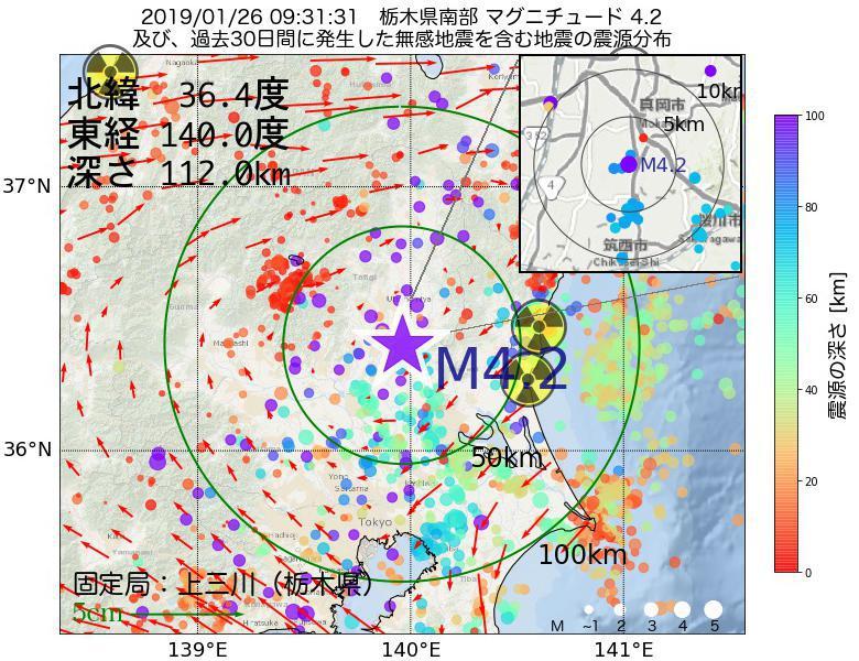 地震震源マップ:2019年01月26日 09時31分 栃木県南部でM4.2の地震