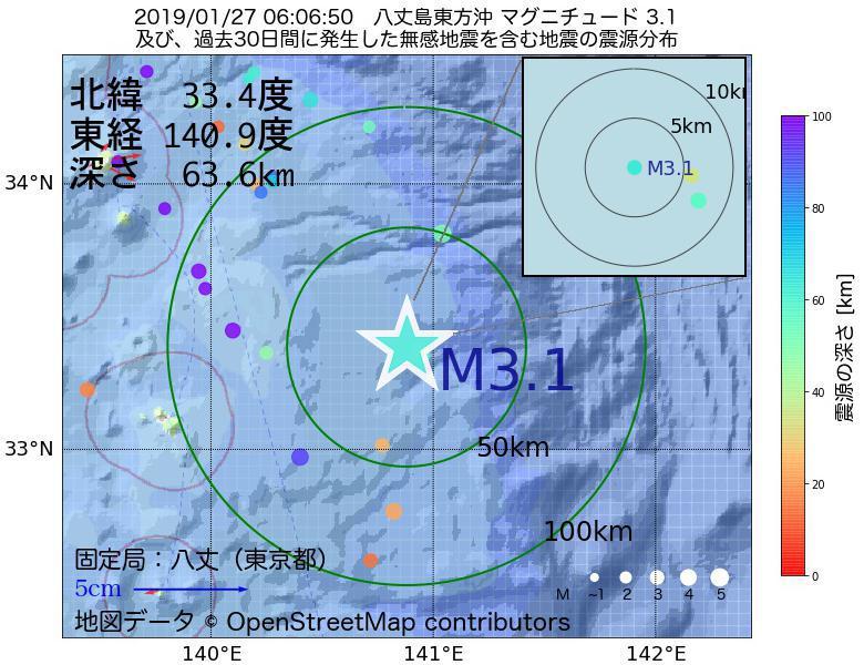 地震震源マップ:2019年01月27日 06時06分 八丈島東方沖でM3.1の地震